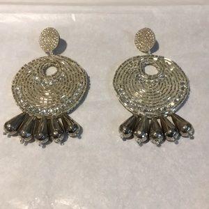 Kenneth Jay Lane silver beaded statement earrings